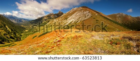Panorama in Slovakia mountains. View on mountains the Tatras