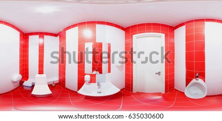 Panorama inside privy 360 degrees in equidistant projection with red tiles on the floor and red white tiles on the walls.