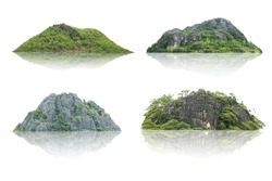 Panorama island, hill, mountain isolated on a white background. The collection of Mountain. Used for graphics