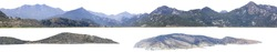 Panorama island, hill, mountain isolated on a white background, with clipping path. Mountain peak.