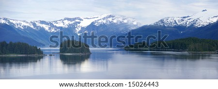 Panorama, Islands and conifer forests,Inside Passage, Alaska