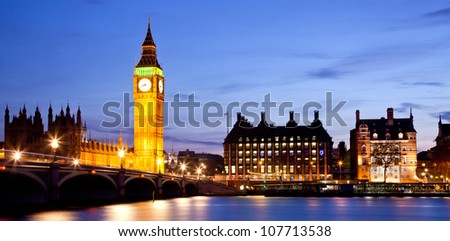 Panorama Landscape of Big Ben and Westminster Bridge with river Thames London England UK