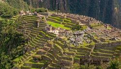 Panorama landscape of the Machu Picchu citadel, Cusco, Peru.