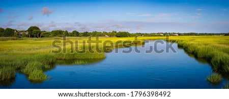 Panorama landscape of wide blue water way through green marsh field with views of trees and clouds Foto d'archivio ©