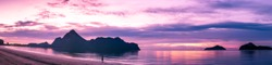 Panorama landscape sea and mountain in twilight time at South of Thailand, Sunrise silhouette view.