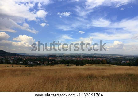 Panorama landscape view of Goslar, historic town in Lower Saxony, Germany  #1132861784