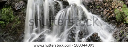 Panorama landscape waterfall detail flowing over rocks