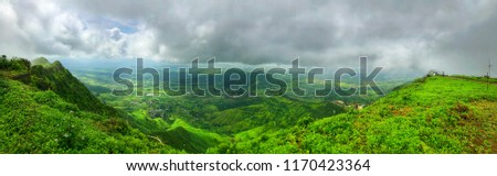 Panorama Lush green monsoon nature landscape mountains, hills, Purandar, Pune, Maharashtra, India