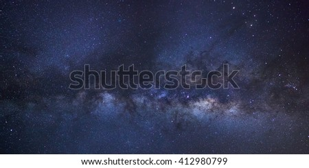 Panorama Milky way galaxy with stars and space dust in the universe,Comet 252P/LINEAR is left of and below Saturn. Long exposure photograph, with grain, high resolution