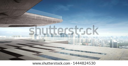Panorama modern architecture with city skyline. 3D rendering