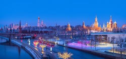 Panorama Moscow. Russia in winter morning. Sights in Moscow in winter. Snow on streets of Russia. Kremlin and St. Basil's Cathedral in distance. Moscow river on morning. Christmas holidays in Russia.