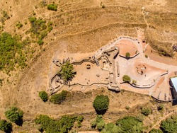 Panorama. Mount Bental In the northern Golan heights. Israel. Old Syrian trenches and military fortifications. Drone photography.