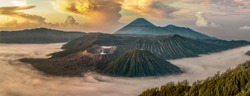 panorama Mount Bromo is an active volcano and one of the most visited tourist attractions in East Java, Indonesia.
