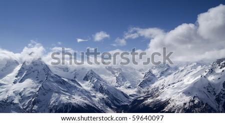 Panorama Mountains. Caucasus, Dombay.