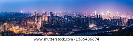 panorama night view of chongqing nanan district and yuzhong district. in China. landscape and skyscrapers in chongqing.