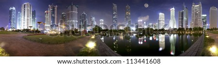 panorama night view of shanghai Lujiazui,finance center of China