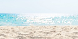 Panorama of a beautiful white sand beach and turquoise water in Maldives. Holiday summer beach background.. Wave of the sea on the sand beach.