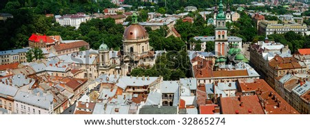 Panorama of a city of Lvov. Birds eye view.