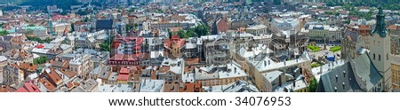 Panorama of a city of Lvov. Birds eye view. - stock photo