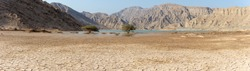 Panorama of a Dried Mud Design in the Sunshine in the desert of the United Arab Emirates (UAE) and a full wadi lake after a flood and storm near Jebal Jais mountain in Ras al Khaimah.