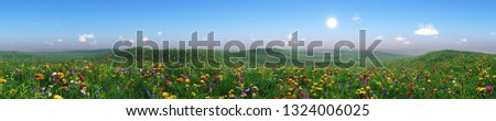 Panorama of a flower meadow, flower hills view, grass and flowers under a blue sky, flowering slope under the sun, hills in flowers, green hills with flowers, 3d rendering stock photo