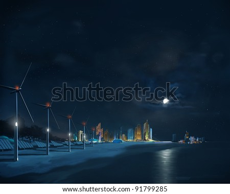 Panorama of a futuristic city with eco energy systems
