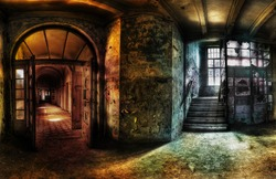 panorama of a hallway in an abandoned complex, hdr processing