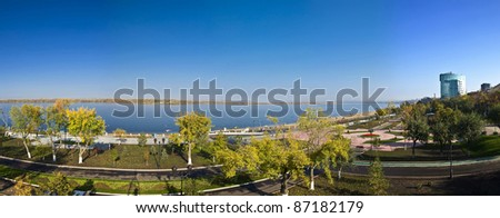 Panorama of a large city on the banks of the river. Quay. Samara, Russia. Autumn Landscape. - stock photo