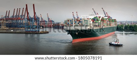 Panorama of a large container ship in the port of Hamburg  Zdjęcia stock ©