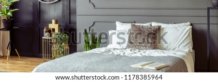 Panorama of a monochromatic bedroom interior with golden decorations, plants and molding on a gray wall #1178385964