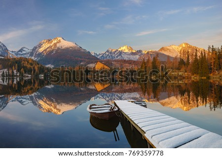panorama of a mountain lake in winter scenery, Strbske Pleso, Slovakia, High Tatras Stockfoto ©