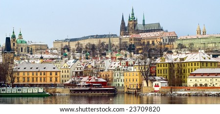 Panorama of a snow covered Prague Castle Hradcany in winter