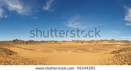 Panorama of a vast valley in the Akakus Mountains, Sahara Desert, Libya