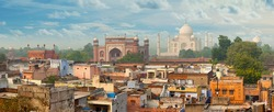 Panorama of Agra city, India. Taj Mahal in the background