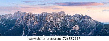 Panorama of Alpine mountain ridge landscape #726889117