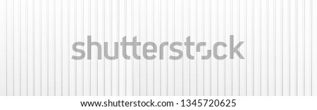 Panorama of Aluminum fence panels painted white texture and background Foto stock ©