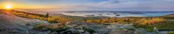 Panorama of an amazing sunset overlooking Acadia Nationalpark