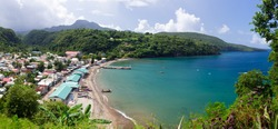 Panorama of Anse La Raye bay in St. Lucia