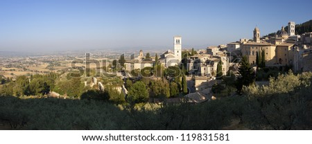 Panorama of Assisi village and Umbria countryside, Italy, Europe