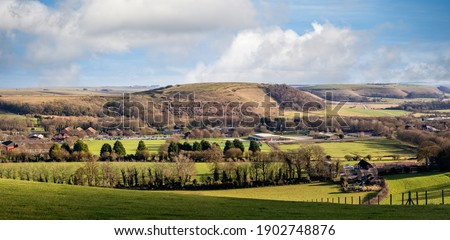 Panorama of Battlebury Hill from public footpath around West Wilts Golf Course in Warminster, Wiltshire, UK Stock photo ©