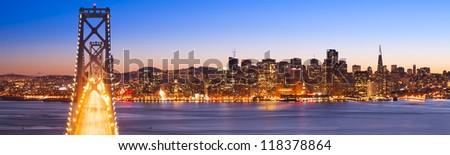 Panorama of Bay Bridge and San Francisco Financial District. San Francisco, USA.