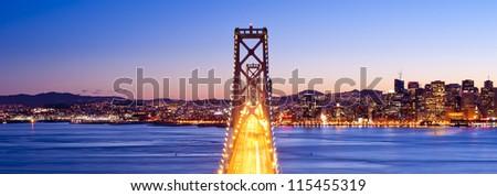 Panorama of Bay Bridge at sunset. San Francisco, USA.