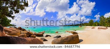 Panorama of beach Anse Lazio, Seychelles - vacation background