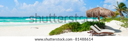 Panorama of Beautiful Caribbean coast in Tulum Mexico