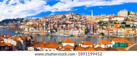 panorama of beautiful Porto town, Portugal travel and landmarks Stock foto ©