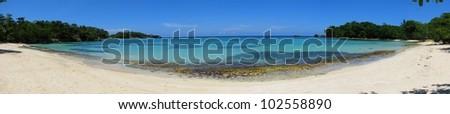 Panorama of beautiful Winnifred Beach, Port Antonio, Jamaica