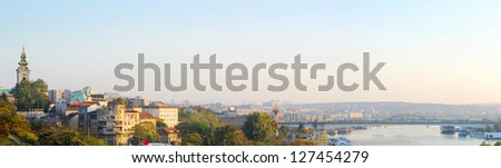 Panorama of Belgrad at sunset. Serbia