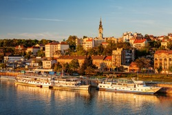 Panorama of Belgrade with river sava on a sunny day