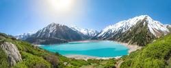 Panorama of Big Almaty Lake on Sunny summer day, Kazakhstan
