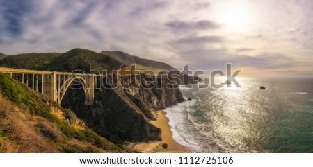 Panorama of Bixby Bridge and Pacific Ocean near Big Sur in California, USA